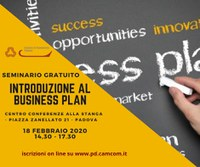 "18 02 2020 Seminario Gratuito ""Introduzione al business plan"""